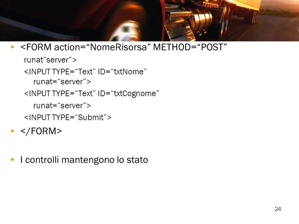 24 <FORM action=NomeRisorsa METHOD=POST runatserver> <INPUT TYPE=Text ID=txtCognome runat=server> I controlli mantengono lo stato