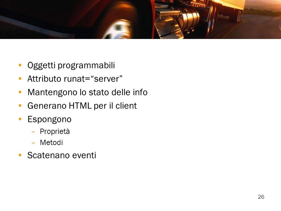 26 Oggetti programmabili Attributo runat=server Mantengono lo stato delle info Generano HTML per il client Espongono –Proprietà –Metodi Scatenano even