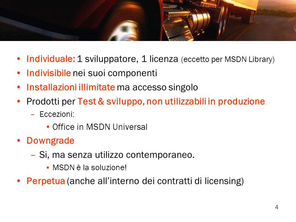 4 Individuale: 1 sviluppatore, 1 licenza (eccetto per MSDN Library) Indivisibile nei suoi componenti Installazioni illimitate ma accesso singolo Prodo