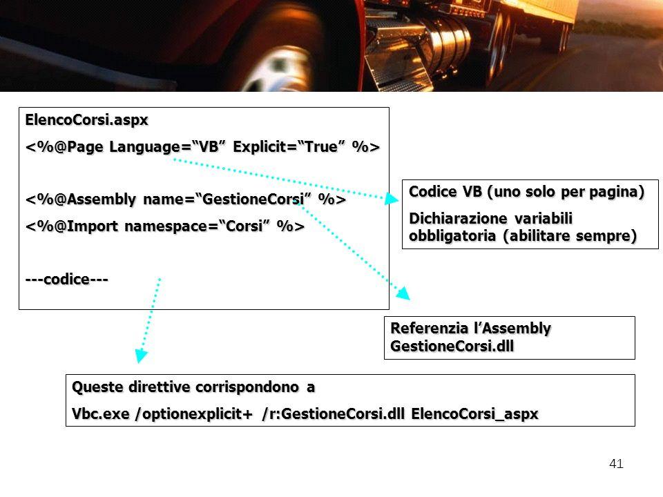 41 ElencoCorsi.aspx ---codice--- Referenzia lAssembly GestioneCorsi.dll Codice VB (uno solo per pagina) Dichiarazione variabili obbligatoria (abilitar