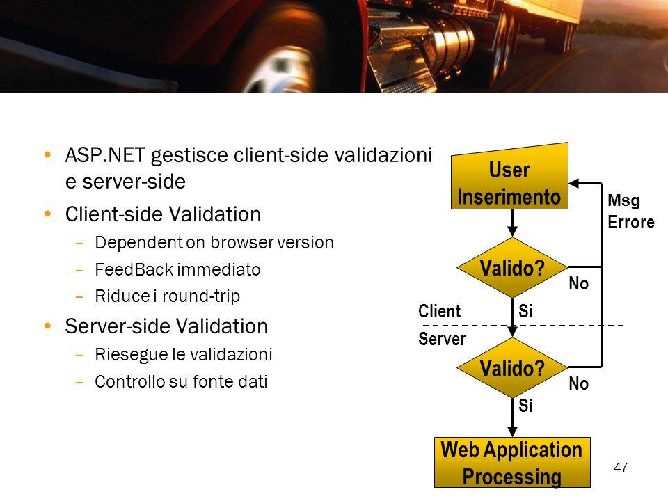 47 ASP.NET gestisce client-side validazioni e server-side Client-side Validation –Dependent on browser version –FeedBack immediato –Riduce i round-tri