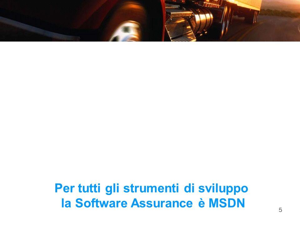 5 Per tutti gli strumenti di sviluppo la Software Assurance è MSDN
