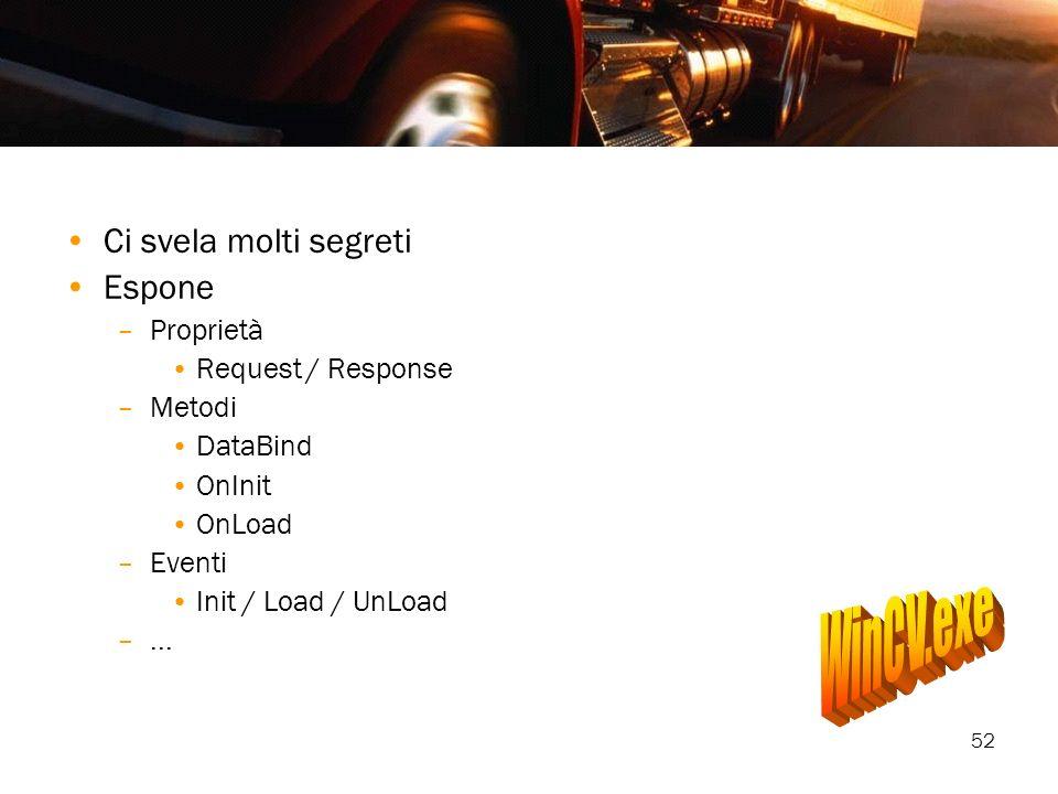 52 Ci svela molti segreti Espone –Proprietà Request / Response –Metodi DataBind OnInit OnLoad –Eventi Init / Load / UnLoad –...