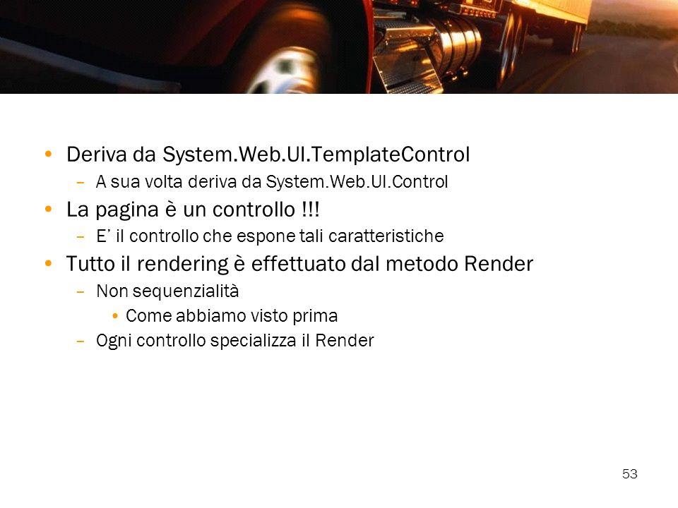 53 Deriva da System.Web.UI.TemplateControl –A sua volta deriva da System.Web.UI.Control La pagina è un controllo !!! –E il controllo che espone tali c