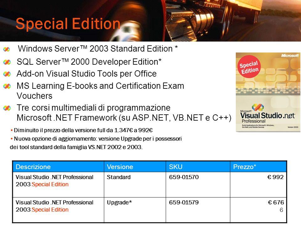 6 Special Edition Windows Server 2003 Standard Edition * SQL Server 2000 Developer Edition* Add-on Visual Studio Tools per Office MS Learning E-books