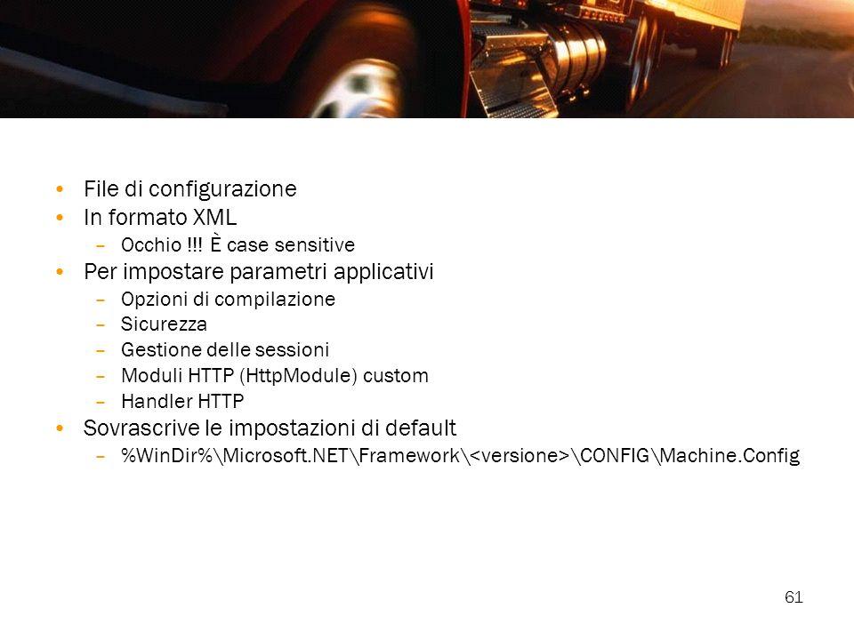 61 File di configurazione In formato XML –Occhio !!! È case sensitive Per impostare parametri applicativi –Opzioni di compilazione –Sicurezza –Gestion