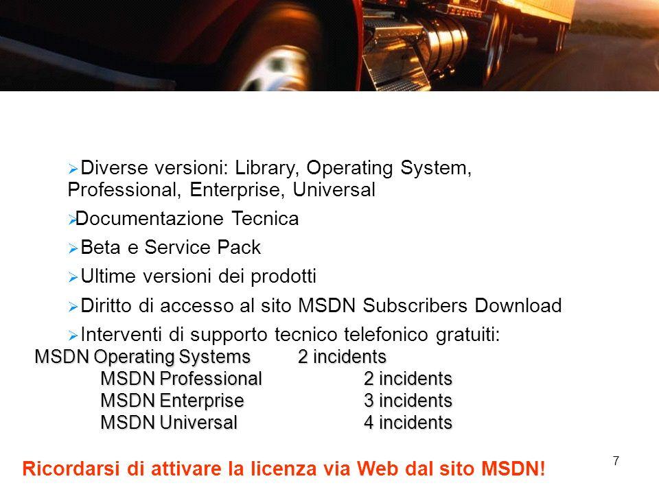 7 Diverse versioni: Library, Operating System, Professional, Enterprise, Universal Documentazione Tecnica Beta e Service Pack Ultime versioni dei prod