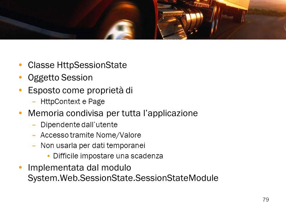 79 Classe HttpSessionState Oggetto Session Esposto come proprietà di –HttpContext e Page Memoria condivisa per tutta lapplicazione –Dipendente dallute