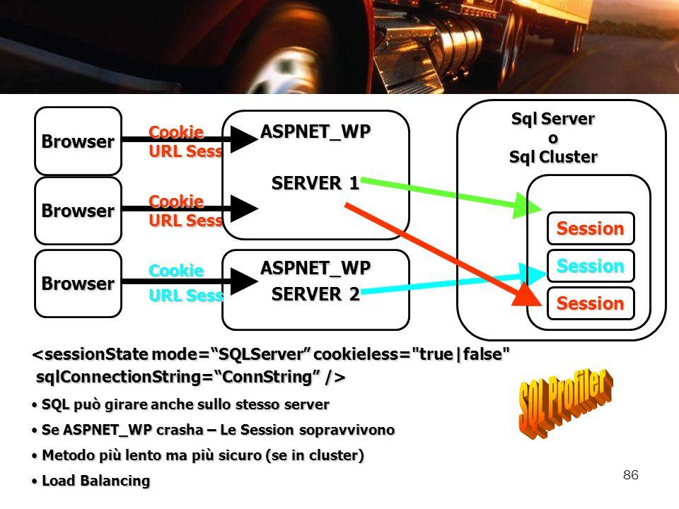 86 SQL può girare anche sullo stesso server SQL può girare anche sullo stesso server Se ASPNET_WP crasha – Le Session sopravvivono Se ASPNET_WP crasha