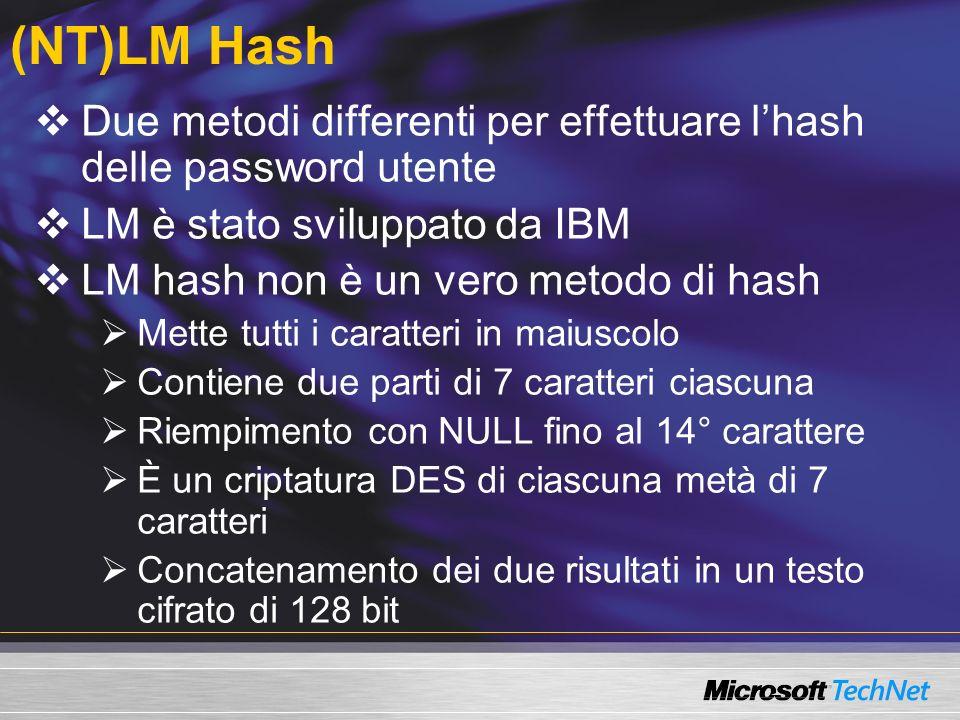 (NT)LM Hash Due metodi differenti per effettuare lhash delle password utente LM è stato sviluppato da IBM LM hash non è un vero metodo di hash Mette t