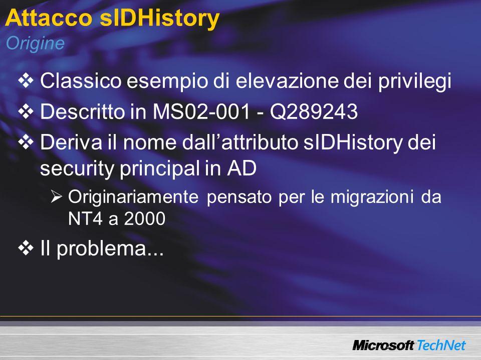 Attacco sIDHistory Origine Classico esempio di elevazione dei privilegi Descritto in MS02-001 - Q289243 Deriva il nome dallattributo sIDHistory dei se