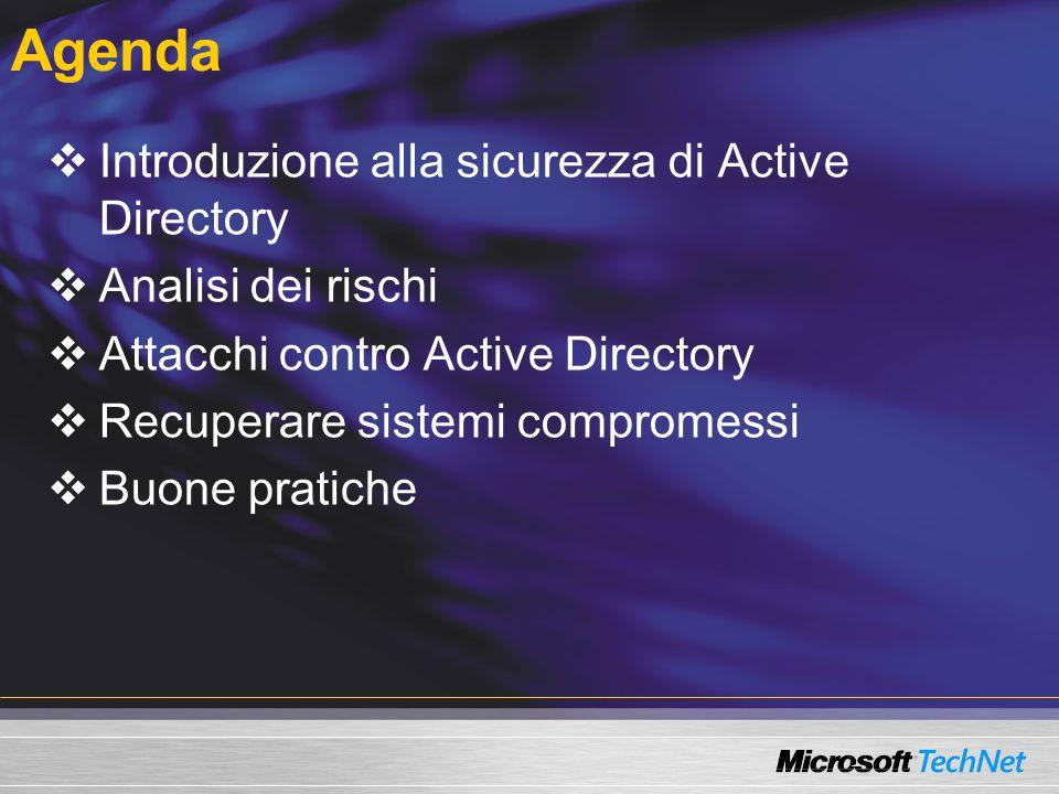 Agenda Introduzione alla sicurezza di Active Directory Analisi dei rischi Attacchi contro Active Directory Recuperare sistemi compromessi Buone pratic