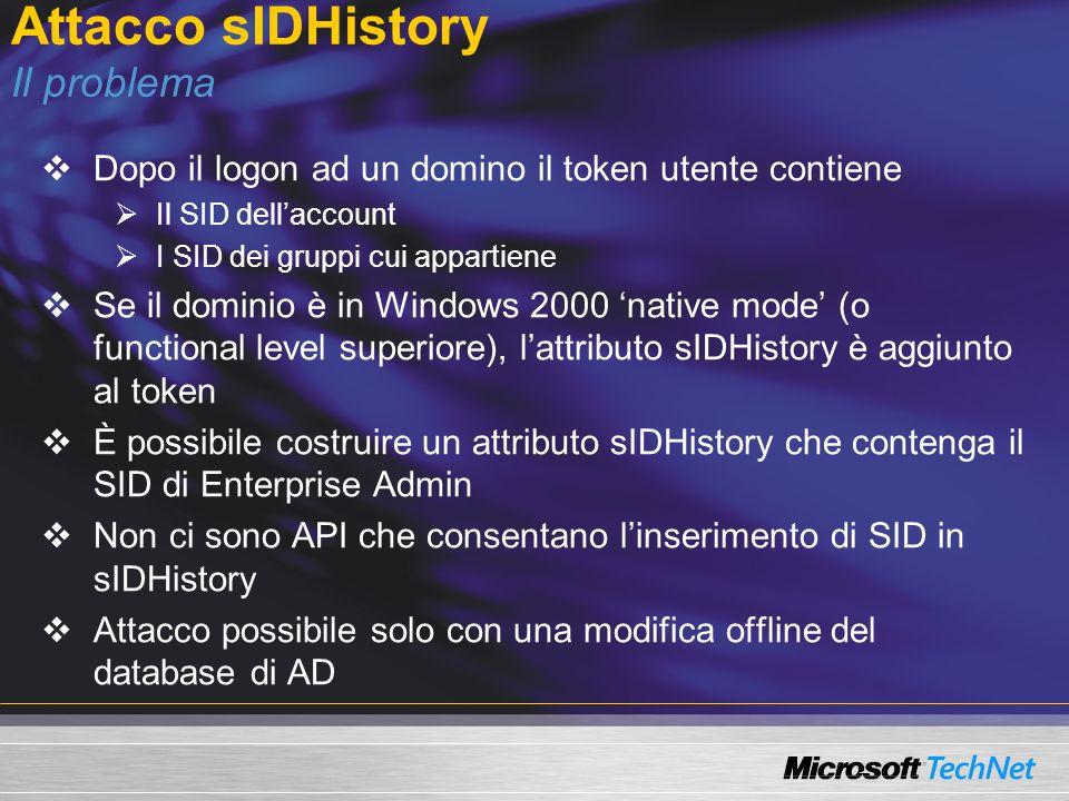 Attacco sIDHistory Il problema Dopo il logon ad un domino il token utente contiene Il SID dellaccount I SID dei gruppi cui appartiene Se il dominio è