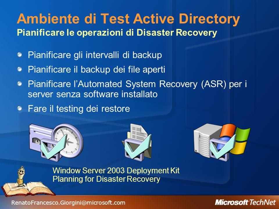 RenatoFrancesco.Giorgini@microsoft.com Ambiente di Test Active Directory Servizio Volume Shadow Copy Snapshot backup Tape backup