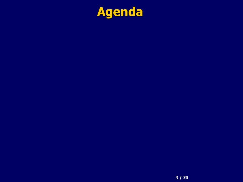 3 / 70 Agenda