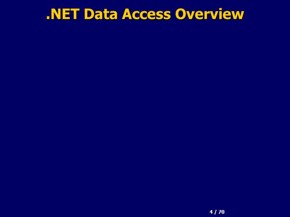 65 / 70 Oracle e.NET Microsoft.NET Data Provider per Oracle –Prodotto da Microsoft –Usa gli strumenti client di Oracle Oracle Data Provider per.NET (ODP.NET) –Sviluppato da Oracle –Integrazione completa –Espone tutte le caratteristiche di un Oracle DB Oracle Connect per.NET