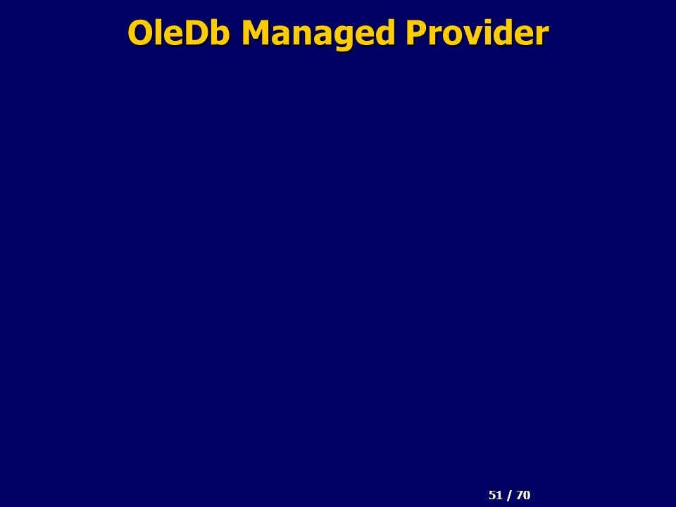 51 / 70 OleDb Managed Provider