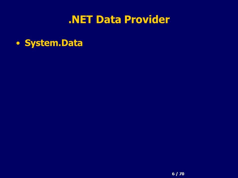 6 / 70.NET Data Provider System.Data