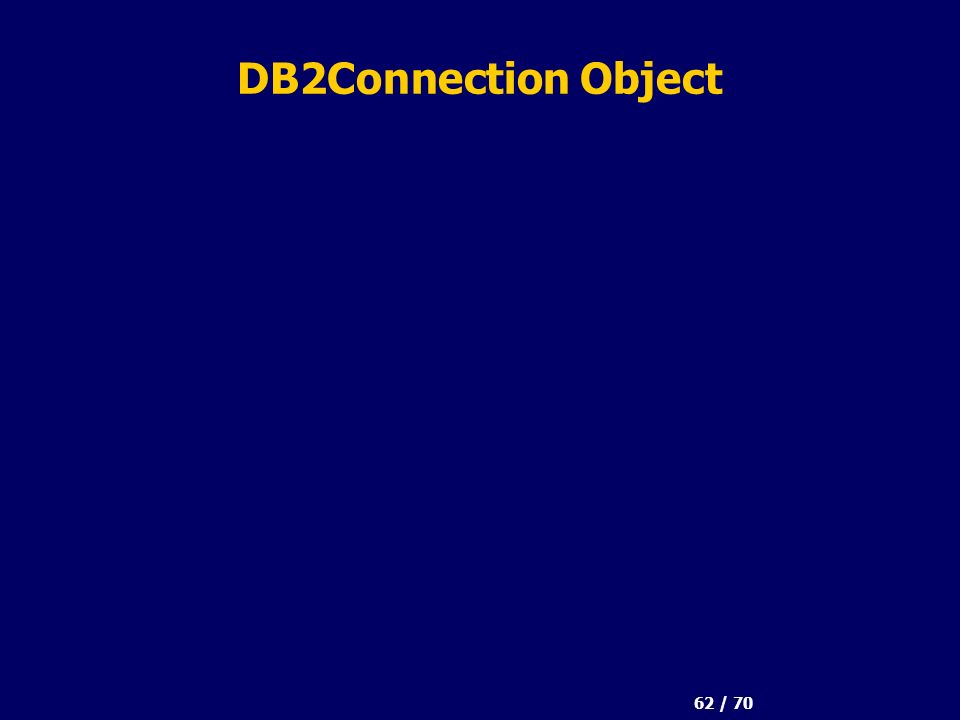 62 / 70 DB2Connection Object