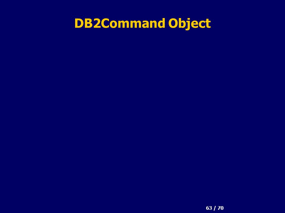 63 / 70 DB2Command Object