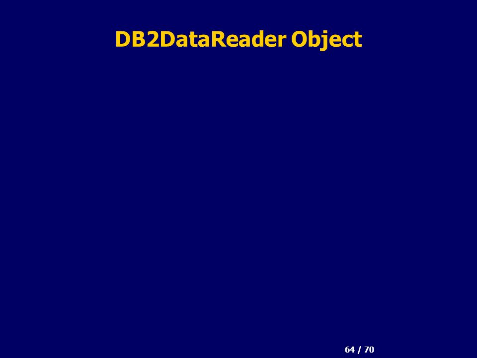 64 / 70 DB2DataReader Object