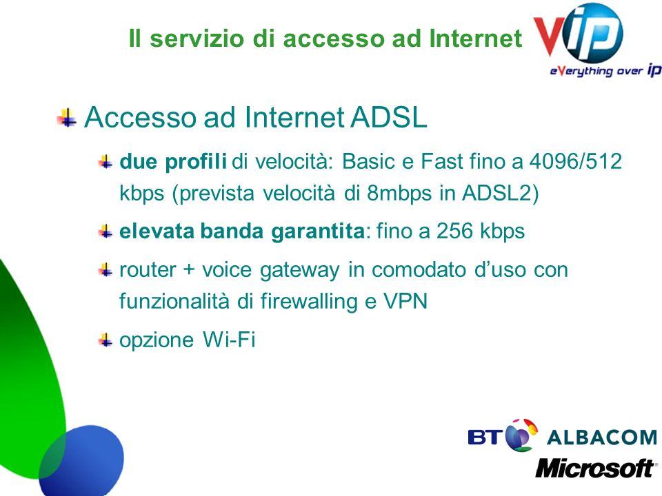 Il servizio di accesso ad Internet Accesso ad Internet ADSL due profili di velocità: Basic e Fast fino a 4096/512 kbps (prevista velocità di 8mbps in