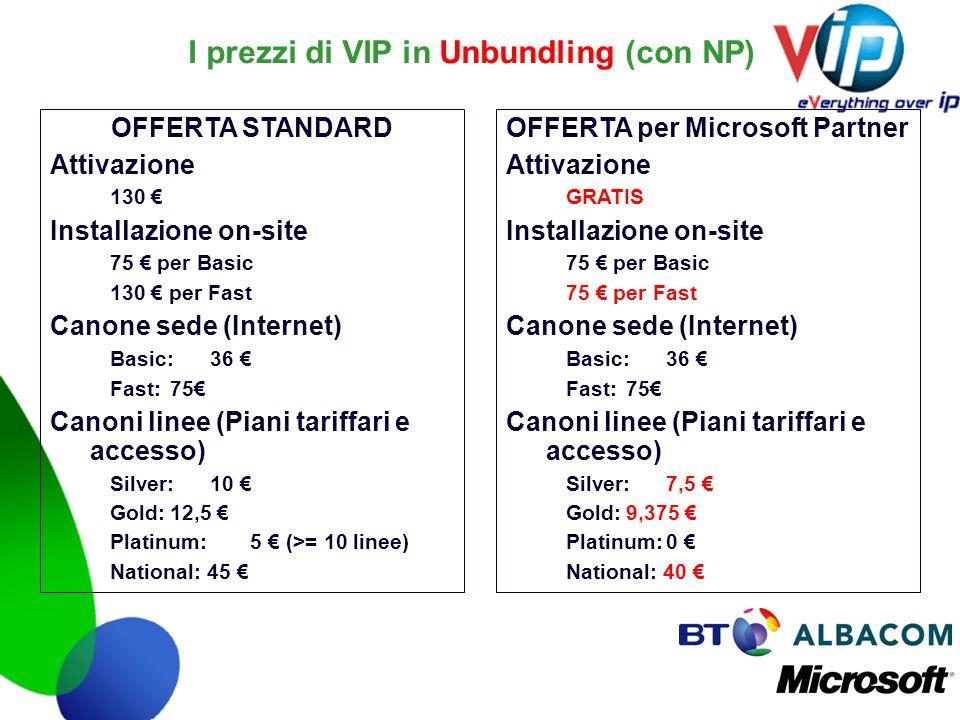 I prezzi di VIP in Unbundling (con NP) OFFERTA STANDARD Attivazione 130 Installazione on-site 75 per Basic 130 per Fast Canone sede (Internet) Basic:3