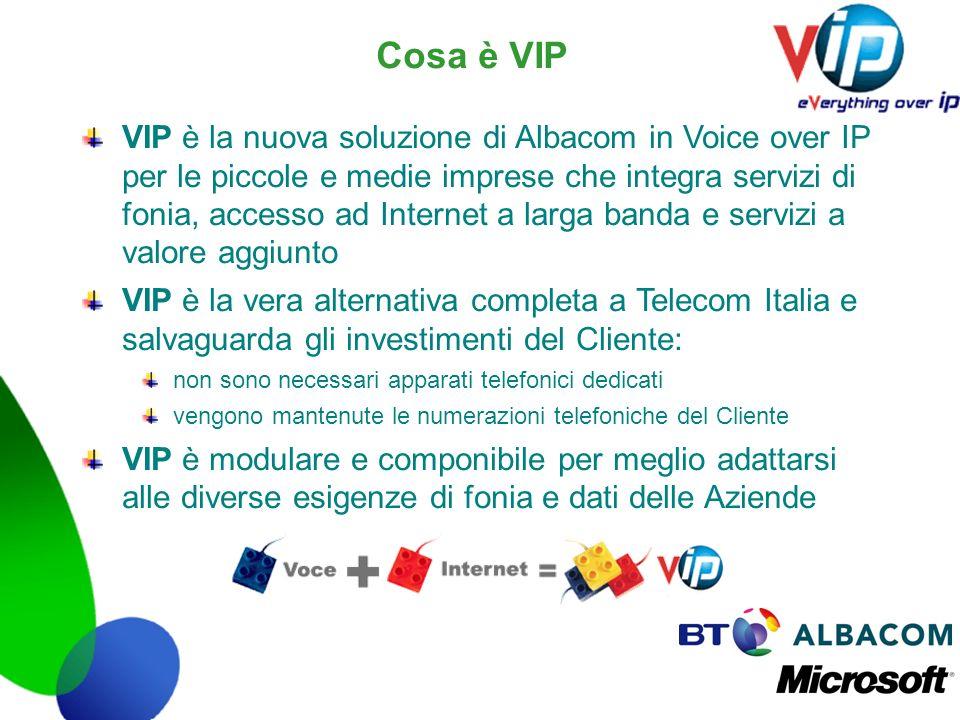 Cosa è VIP VIP è la nuova soluzione di Albacom in Voice over IP per le piccole e medie imprese che integra servizi di fonia, accesso ad Internet a lar