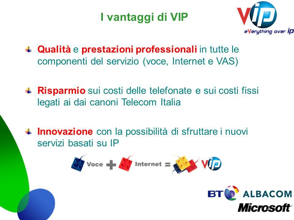 I vantaggi di VIP Qualità e prestazioni professionali in tutte le componenti del servizio (voce, Internet e VAS) Risparmio sui costi delle telefonate