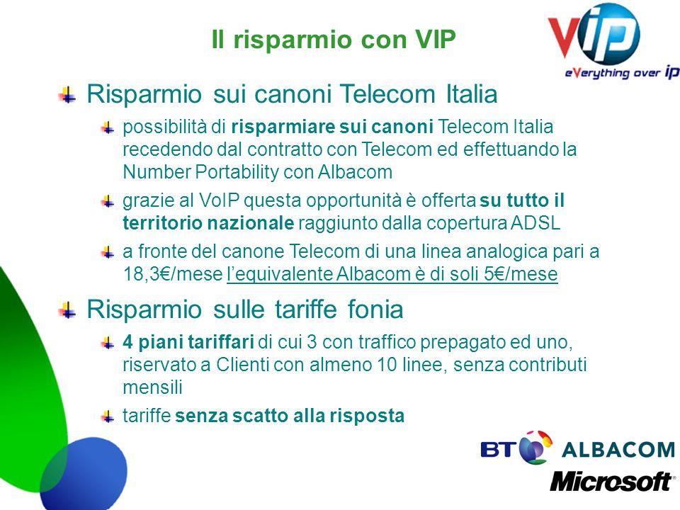 Il risparmio con VIP Risparmio sui canoni Telecom Italia possibilità di risparmiare sui canoni Telecom Italia recedendo dal contratto con Telecom ed e