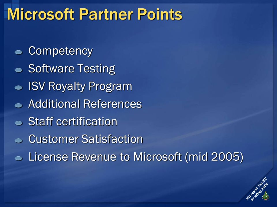 Microsoft Top ISV Briefing 2004 Microsoft Partner Points Competency Software Testing ISV Royalty Program Additional References Staff certification Customer Satisfaction License Revenue to Microsoft (mid 2005)