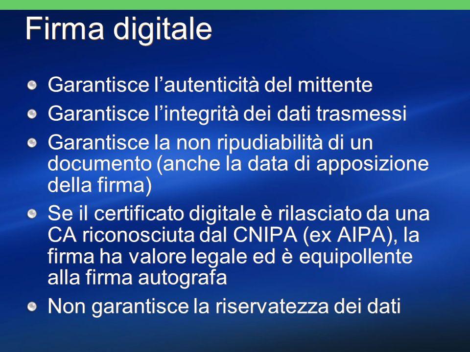 Firma digitale Garantisce lautenticità del mittente Garantisce lintegrità dei dati trasmessi Garantisce la non ripudiabilità di un documento (anche la