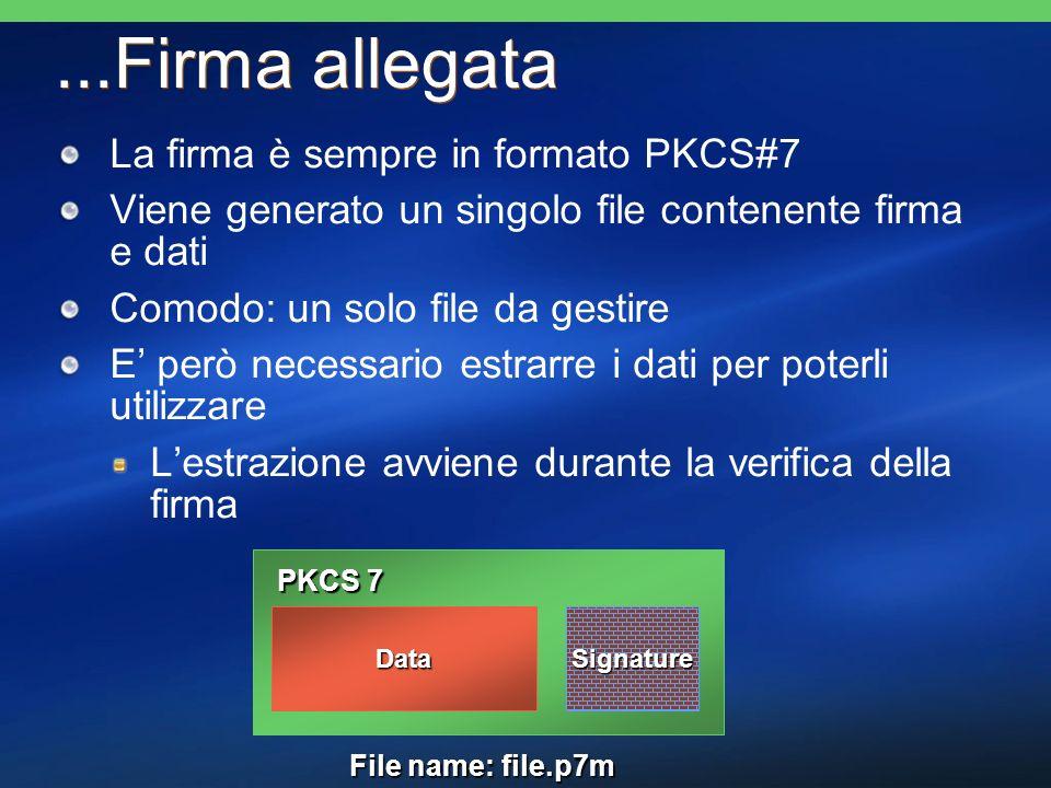 ...Firma allegata La firma è sempre in formato PKCS#7 Viene generato un singolo file contenente firma e dati Comodo: un solo file da gestire E però ne