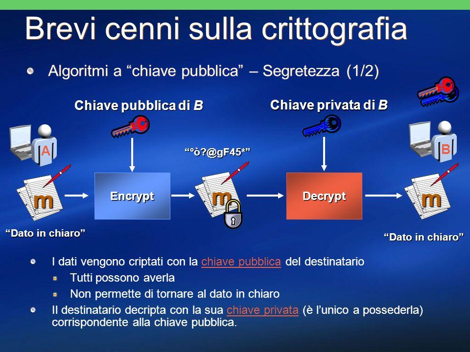Brevi cenni sulla crittografia Algoritmi a chiave pubblica – Segretezza (1/2) m Chiave pubblica di B Encrypt Decrypt m m Chiave privata di B Dato in c