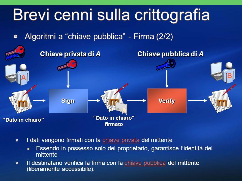 Protezione di documenti Garantisce la riservatezza dei dati Avviene tramite lutilizzo di algoritmi di criptazione simmetrici ed asimmetrici I dati vengono criptati con algoritmi a chiave simmetrica (+ veloce) La chiave privata usata nellalgoritmo simmetrico, viene a sua volta criptata con la chiave pubblica presente nel certificato del destinatario Il destinatario estrae, tramite la sua chiave privata, la chiave simmetrica e con questa decripta i dati Garantisce la riservatezza dei dati Avviene tramite lutilizzo di algoritmi di criptazione simmetrici ed asimmetrici I dati vengono criptati con algoritmi a chiave simmetrica (+ veloce) La chiave privata usata nellalgoritmo simmetrico, viene a sua volta criptata con la chiave pubblica presente nel certificato del destinatario Il destinatario estrae, tramite la sua chiave privata, la chiave simmetrica e con questa decripta i dati