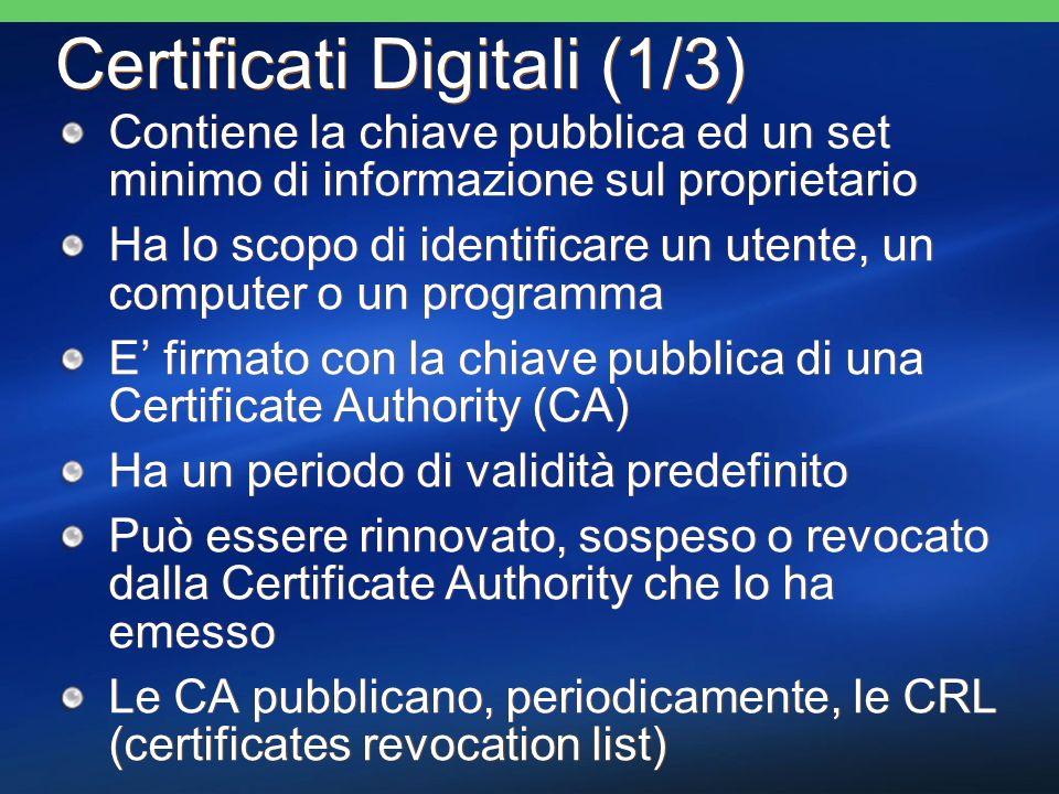 Certificati Digitali (1/3) Contiene la chiave pubblica ed un set minimo di informazione sul proprietario Ha lo scopo di identificare un utente, un com
