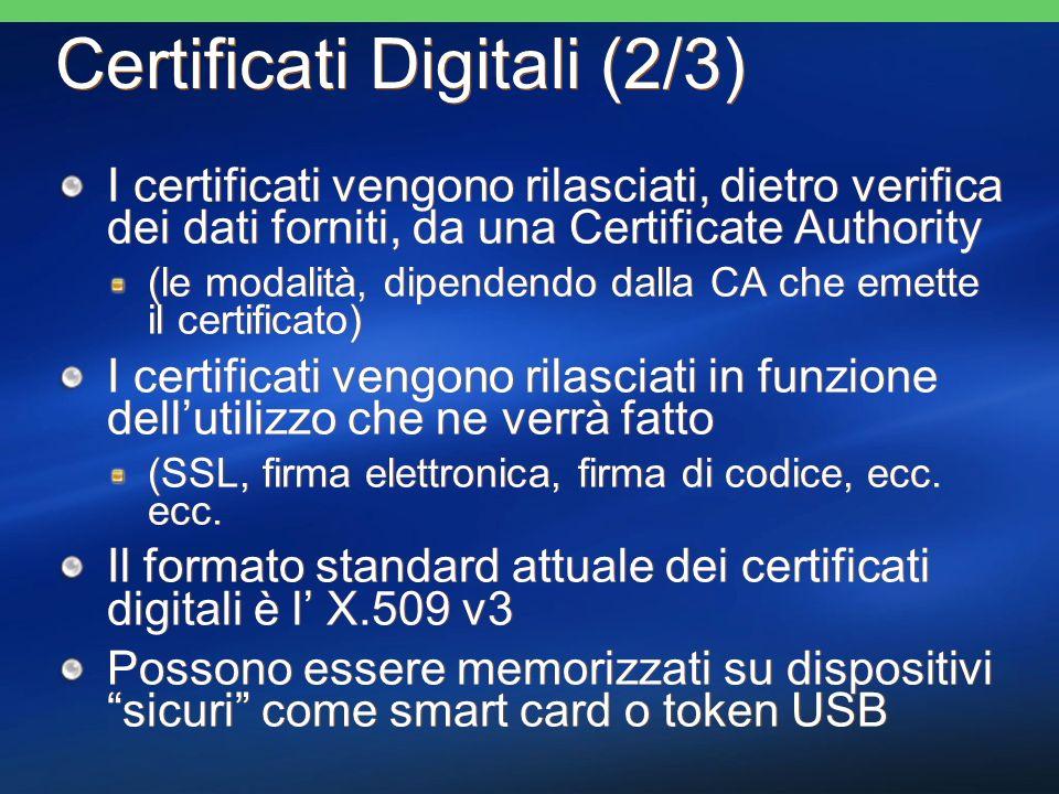 Certificati Digitali (2/3) I certificati vengono rilasciati, dietro verifica dei dati forniti, da una Certificate Authority (le modalità, dipendendo d