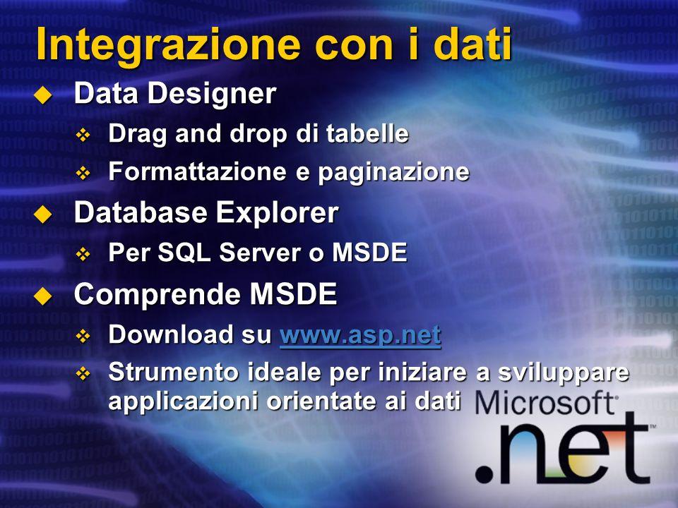 Integrazione con i dati Data Designer Data Designer Drag and drop di tabelle Drag and drop di tabelle Formattazione e paginazione Formattazione e pagi