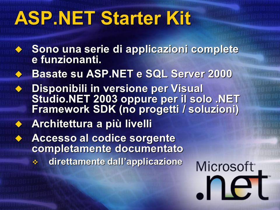 ASP.NET Starter Kit Sono una serie di applicazioni complete e funzionanti. Sono una serie di applicazioni complete e funzionanti. Basate su ASP.NET e
