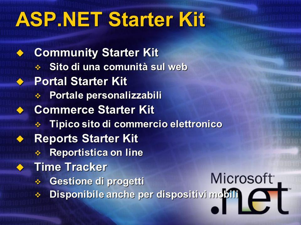 ASP.NET Starter Kit Community Starter Kit Community Starter Kit Sito di una comunità sul web Sito di una comunità sul web Portal Starter Kit Portal St