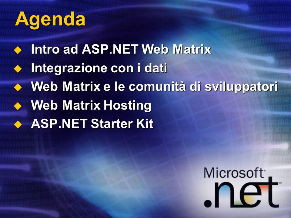 Agenda Intro ad ASP.NET Web Matrix Intro ad ASP.NET Web Matrix Integrazione con i dati Integrazione con i dati Web Matrix e le comunità di sviluppator