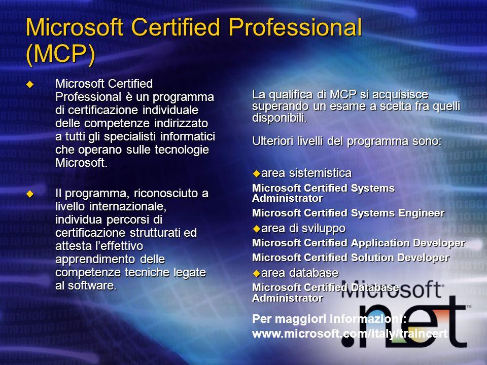 Microsoft Certified Professional (MCP) Microsoft Certified Professional è un programma di certificazione individuale delle competenze indirizzato a tu