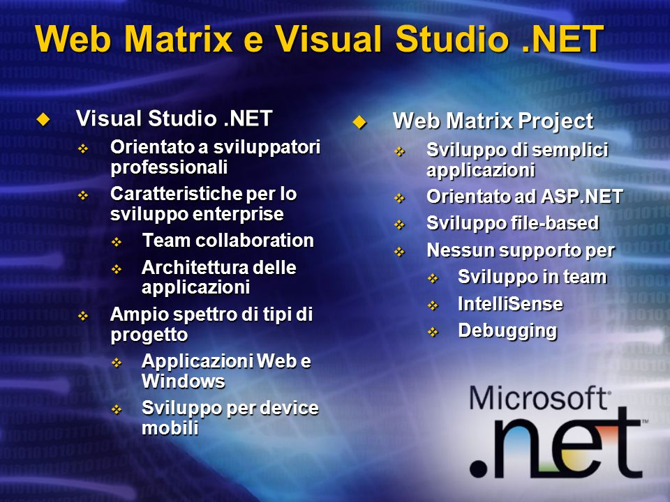 Confronto tra VS.NET e Web Matrix Funzionalità Web Matrix VS.NET Team development noyes Debuggingnoyes Intellisense / Statement Completion noyes Windows Forms Designer noyes Architect Tools noyes Project System noyes Control / Add-in / Code Builder pickers yesno FTP hosting support yesno Self-contained web server yesno Instant Messaging Client Integration yesno Mobile Web Application Designer yesyes WYSIWYG Web Form Designer yesyes Web Services (ability to build and consume) yesyes Integrated Data Designers yesyes