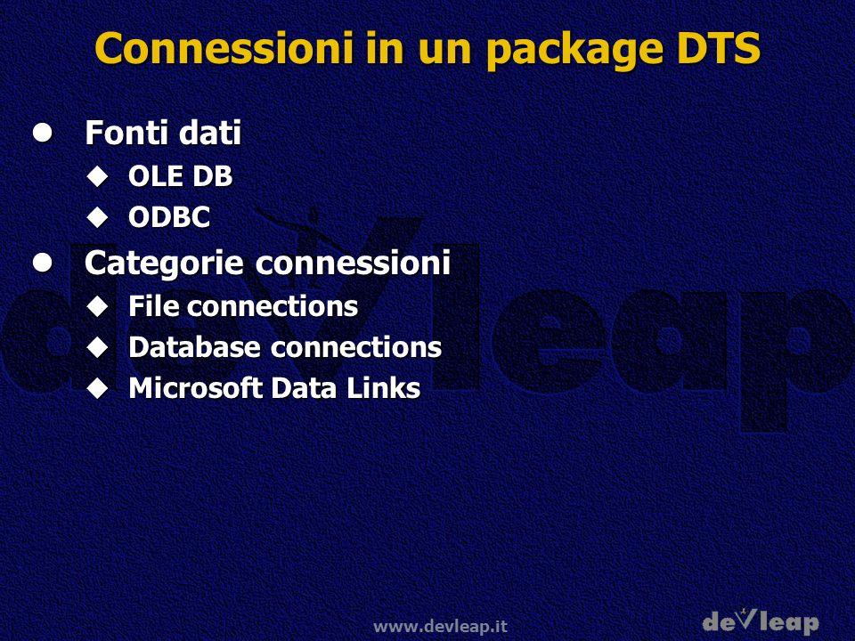 www.devleap.it Connessioni in un package DTS Fonti dati Fonti dati OLE DB OLE DB ODBC ODBC Categorie connessioni Categorie connessioni File connections File connections Database connections Database connections Microsoft Data Links Microsoft Data Links
