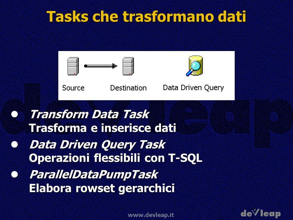 www.devleap.it Tasks che trasformano dati Transform Data Task Trasforma e inserisce dati Transform Data Task Trasforma e inserisce dati Data Driven Query Task Operazioni flessibili con T-SQL Data Driven Query Task Operazioni flessibili con T-SQL ParallelDataPumpTask Elabora rowset gerarchici ParallelDataPumpTask Elabora rowset gerarchici