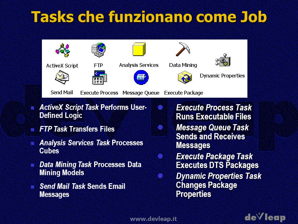 www.devleap.it Tasks che funzionano come Job ActiveX Script Task Performs User- Defined Logic FTP Task Transfers Files Analysis Services Task Processe