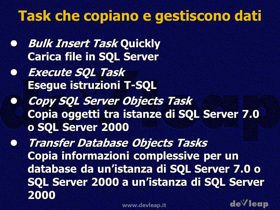 www.devleap.it Task che copiano e gestiscono dati Bulk Insert Task Quickly Carica file in SQL Server Bulk Insert Task Quickly Carica file in SQL Server Execute SQL Task Esegue istruzioni T-SQL Execute SQL Task Esegue istruzioni T-SQL Copy SQL Server Objects Task Copia oggetti tra istanze di SQL Server 7.0 o SQL Server 2000 Copy SQL Server Objects Task Copia oggetti tra istanze di SQL Server 7.0 o SQL Server 2000 Transfer Database Objects Tasks Copia informazioni complessive per un database da unistanza di SQL Server 7.0 o SQL Server 2000 a unistanza di SQL Server 2000 Transfer Database Objects Tasks Copia informazioni complessive per un database da unistanza di SQL Server 7.0 o SQL Server 2000 a unistanza di SQL Server 2000