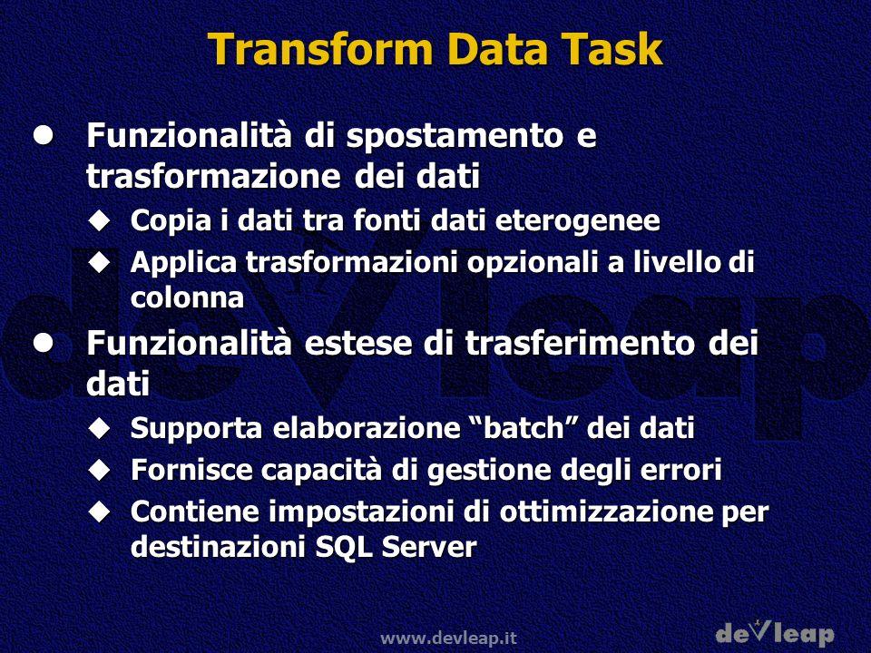 www.devleap.it Transform Data Task Funzionalità di spostamento e trasformazione dei dati Funzionalità di spostamento e trasformazione dei dati Copia i dati tra fonti dati eterogenee Copia i dati tra fonti dati eterogenee Applica trasformazioni opzionali a livello di colonna Applica trasformazioni opzionali a livello di colonna Funzionalità estese di trasferimento dei dati Funzionalità estese di trasferimento dei dati Supporta elaborazione batch dei dati Supporta elaborazione batch dei dati Fornisce capacità di gestione degli errori Fornisce capacità di gestione degli errori Contiene impostazioni di ottimizzazione per destinazioni SQL Server Contiene impostazioni di ottimizzazione per destinazioni SQL Server