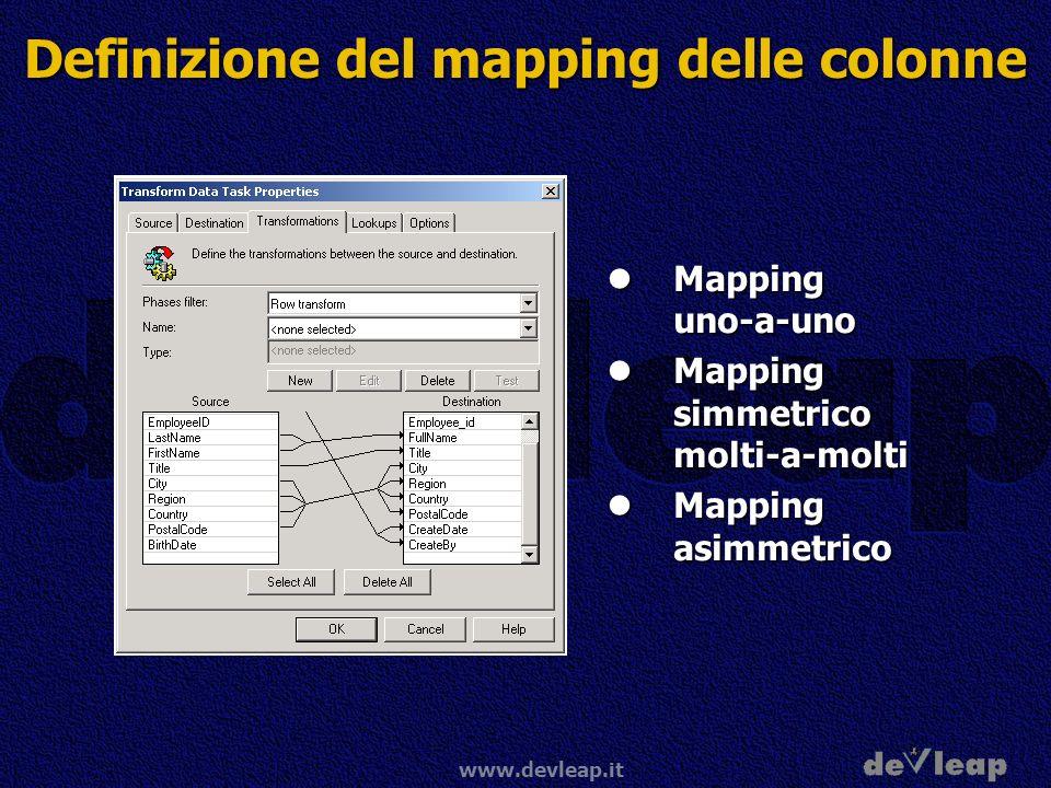 www.devleap.it Definizione del mapping delle colonne Mapping uno-a-uno Mapping uno-a-uno Mapping simmetrico molti-a-molti Mapping simmetrico molti-a-molti Mapping asimmetrico Mapping asimmetrico