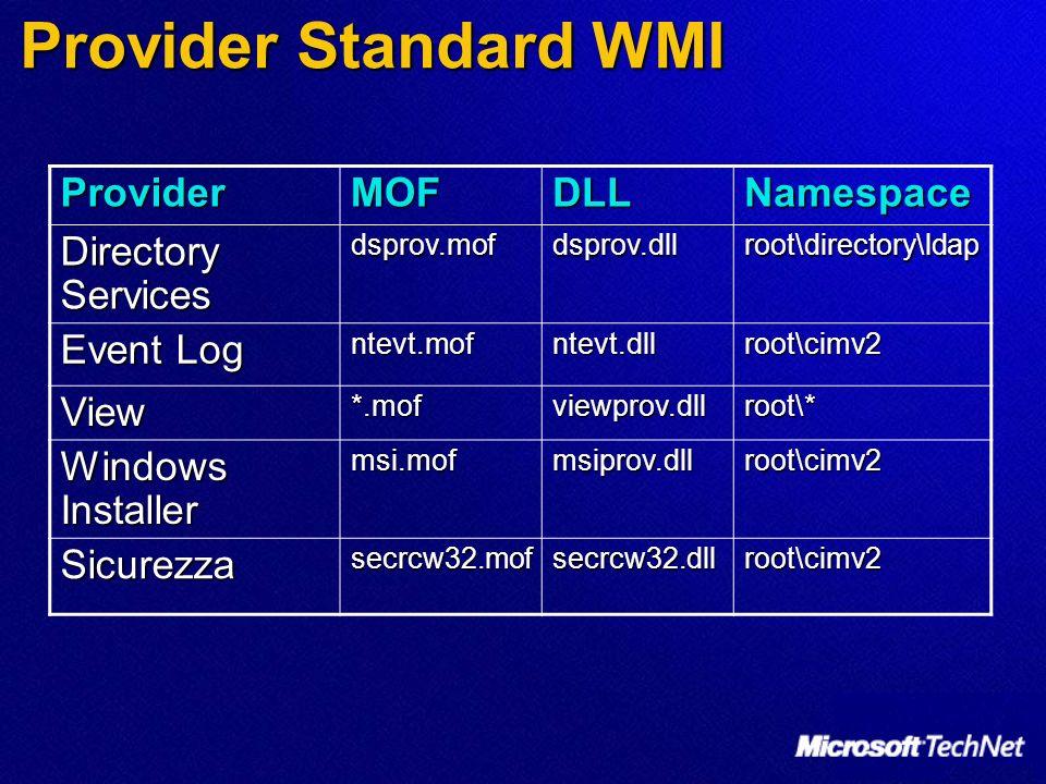 Provider Standard WMI ProviderMOFDLLNamespace Directory Services dsprov.mofdsprov.dllroot\directory\ldap Event Log ntevt.mofntevt.dllroot\cimv2 View*.mofviewprov.dllroot\* Windows Installer msi.mofmsiprov.dllroot\cimv2 Sicurezzasecrcw32.mofsecrcw32.dllroot\cimv2